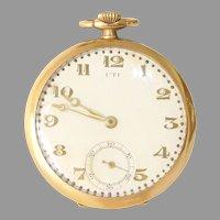 UTI Gold Pocket Watch   18K Yellow Retro   Open Face Vintage Estate Mens
