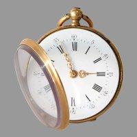Victorian Gold Pocket Watch   18K Yellow Open Face   Antique Key Wind