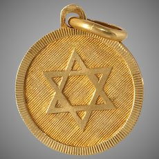 Retro Magen David Pendant   18K Yellow Gold   Vintage Star Judaica