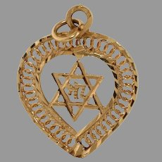 Magen David Heart Hai Pendant | 14K Yellow Gold | Vintage Star Judaica