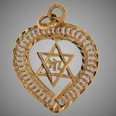 Magen David Heart Hai Pendant   14K Yellow Gold   Vintage Star Judaica