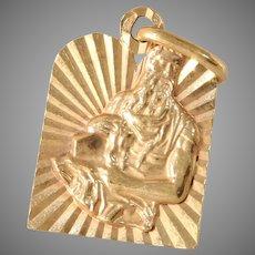 Vintage Ten Commandment Pendant   18K Rose Gold   Moses Judaica Retro