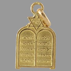Vintage Ten Commandment Pendant | 18K Yellow Gold | Magen David Judaica