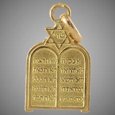 Vintage Ten Commandment Pendant   18K Yellow Gold   Magen David Judaica