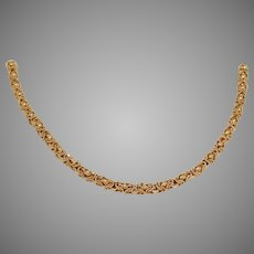 Retro Byzantine Gold Necklace   21K Yellow Thick Link   Vintage Jewelry