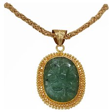 Carved Emerald Gold Pendant | 21K Yellow Gold Flower | Vintage Estate