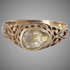 Georgian Diamond Engagement Ring   18K Yellow Gold   Antique Solitaire