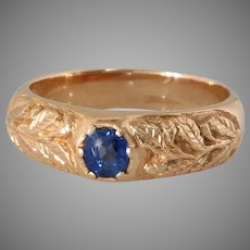 Russian Sapphire Mens Ring   14K Rose Gold Solitaire   Art Deco Vintage
