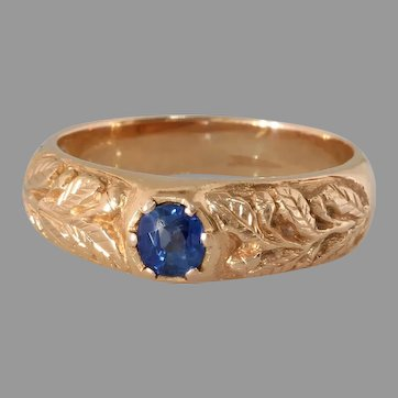 Russian Sapphire Mens Ring | 14K Rose Gold Solitaire | Art Deco Vintage