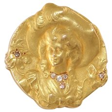 Art Nouveau Diamond Gold Brooch | 18K Yellow Pin | Antique French Lady