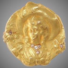Art Nouveau Diamond Gold Brooch   18K Yellow Pin   Antique French Lady