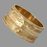 Modernist Thick Band Gold Ring | 14K Yellow Retro | Vintage Israel