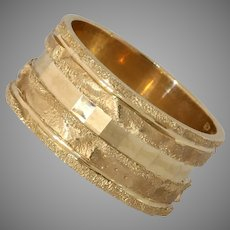 Modernist Thick Band Gold Ring   14K Yellow Retro   Vintage Israel