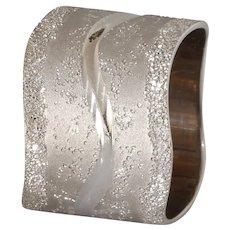 Modernist Thick Band Gold Ring | 14K White Retro | Vintage Israel