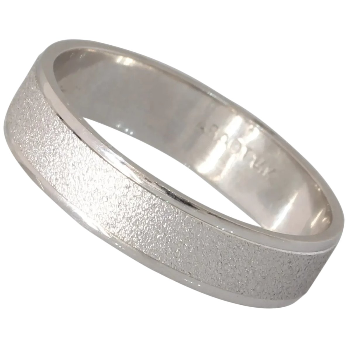 It is a picture of Vintage Mens Wedding Band Ring 39K White Gold Vintage Jewelry Israel
