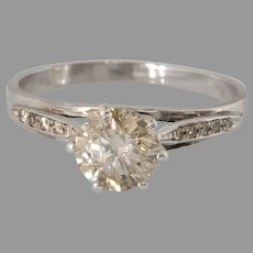 Fancy Brown Diamond Engagement Ring | 18K White Gold | Vintage Israel