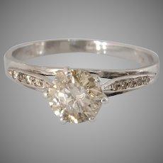 Fancy Brown Diamond Engagement Ring   18K White Gold   Vintage Israel