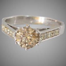 Fancy Brown Diamond Engagement Ring   14K White Gold   Vintage Israel