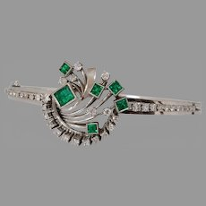 Art Deco Emerald Diamond Bracelet | Platinum Hinged Bangle | Retro