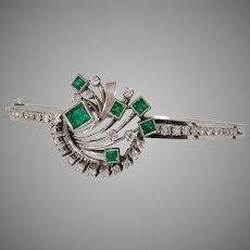 Art Deco Emerald Diamond Bracelet   Platinum Hinged Bangle   Retro