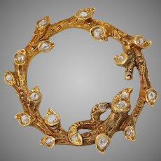 Victorian Diamond Gold Branch Brooch   18K Yellow Leaf Pin   Antique