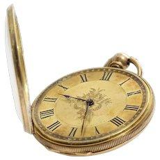 Antique Gold Pocket Watch | 18K Open Face | Key Wind Roman Numerals