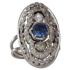 Art Deco Sapphire Diamond Ring | 14K Gold Cocktail | Vintage Engagement