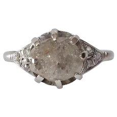 Uncut Diamond Engagement Ring | Platinum Rough Round | Cocktail Rose Cut
