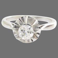 Art Deco Diamond Ring | 18K White Gold | Vintage Engagement Solitaire