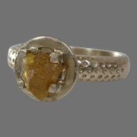 Uncut Diamond Engagement Ring   14K Yellow Gold   Raw Rough Fancy