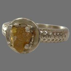 Uncut Diamond Engagement Ring | 14K Yellow Gold | Raw Rough Fancy