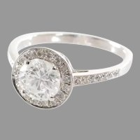 Halo Diamond Engagement Ring | 14K White Gold | Vintage Brilliant 1.5Ct