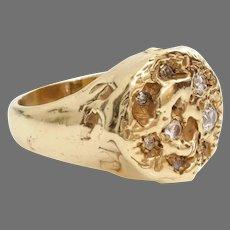 Modernist Diamond Mens Ring | 14K Yellow Gold | Vintage Retro Jewelry