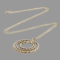 Retro Pendant Necklace   9K Yellow White Gold   Vintage Bicolor Chain