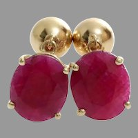 Oval Ruby Drop Earrings | 14K Yellow Gold | Vintage Dangle Israel