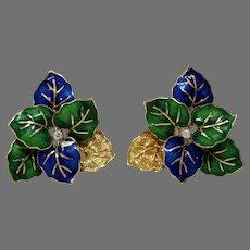 Enamel Leaves Diamond Earrings| 18K Yellow Gold | Vintage Omega Back