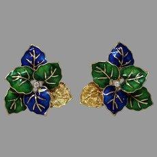 Enamel Leaves Diamond Earrings  18K Yellow Gold   Vintage Omega Back