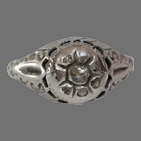 Art Deco Diamond Engagement Ring   18K White Gold   Vintage Cocktail