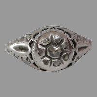 Art Deco Diamond Engagement Ring | 18K White Gold | Vintage Cocktail