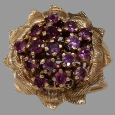Retro Ruby Flower Cocktail Ring 14K Yellow Gold Vintage Israel