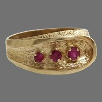 Retro Ruby Cocktail Ring   14K Yellow Gold   Vintage Tristone Israel
