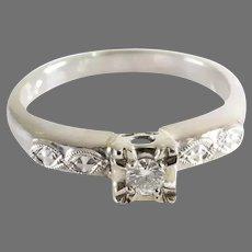 Art Deco Diamond Ring | 14K White Gold | Engagement Vintage Brilliant