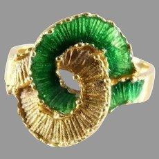 Enamel Love Knot Gold Ring   18K Yellow Green   Vintage Eternity Band