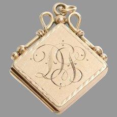 Retro Locket Pendant   14K Yellow Gold   Vintage Monogram Initial