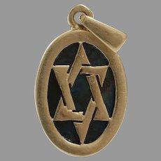 Magen David Gold Pendant   Eilat Stone 14K Yellow   Israel Vintage