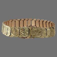 Gold Link Bracelet | 14K Yellow Rose | Vintage Bicolor Israel Retro