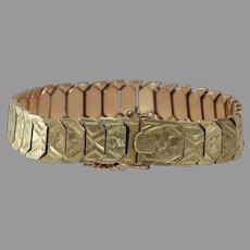 Gold Link Bracelet   14K Yellow Rose   Vintage Bicolor Israel Retro