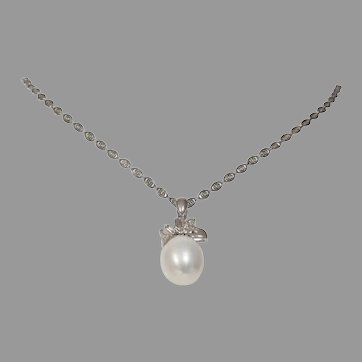 Pearl Diamond Pendant Necklace | 18K White Gold | Vintage Link Chain