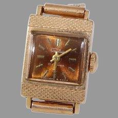 Russian Ladies Wrist Watch   14K Yellow Gold   Vintage Rectangle Rose