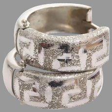 White Gold Hoop Earrings   14K Vintage Latch Back   Round Greek Key